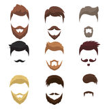 Set of men cartoon hairstyles with beards and moustache Royalty Free Stock Photos