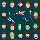 Set of men cartoon hairstyles with beards and mustache. Collection  fashionable stylish   . Vector illustration Royalty Free Stock Images