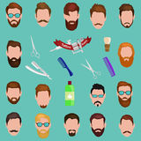 Set of men cartoon hairstyles with beards and mustache. Collection  fashionable stylish   . Vector illustration Royalty Free Stock Photography