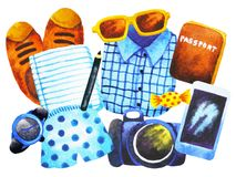 Set men clothes hipster top view watercolor painting hand drawn stock illustration
