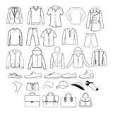 Set of  men clothing garments and accessories icons Stock Photo