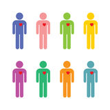 Set of men in different colors with a dedicated heart Stock Photography