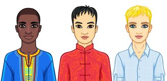 Set of men of different ethnic and cultures. Royalty Free Stock Images