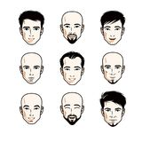 Set of men faces, human heads. Different vector characters like vector illustration