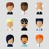 Set of Men Faces Icons in Flat Design Royalty Free Stock Photography