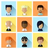 Set of Men Faces Icons in Flat Design Stock Photos