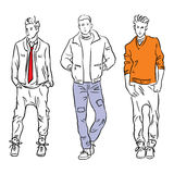 Set of men fashion models in the spring clothes Royalty Free Stock Photo