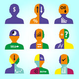 Set of men head simple avatar icons with color infographics  eps10. Set of men head simple avatar icons with color infographics Royalty Free Stock Photos
