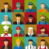 Set of 16 men job icons in flat with long shadow. Vector Stock Photo