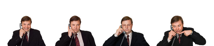 Set of men with phone. Isolated on white background stock images