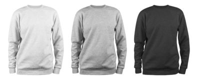 Set of men`s blank sweatshirt template - white, grey, black, natural shape on invisible mannequin, for your design mockup for pri stock photography