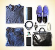 Set of men's clothing and accessories Stock Image