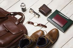 Set of men`s clothing and accessories. Hipster concept.  Stock Photo