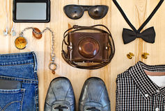 Set of men's clothing and accessories. Stock Photo