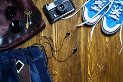 Set of men`s clothing and accessories. Hipster concept. Royalty Free Stock Images