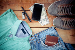 Set of men's clothing and accessories. Man is accessories on a wooden background Royalty Free Stock Images