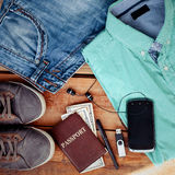 Set of men's clothing and accessories. Man is accessories on a wooden background Stock Image