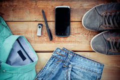 Set of men's clothing and accessories. Stock Image