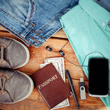 Set of men's clothing and accessories. Man is accessories on a wooden background Stock Images