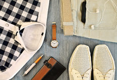Set of men's clothing and accessories Royalty Free Stock Photos