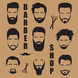 Set men`s hair with a beard. Barber shop Stock Images