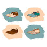 Set of men's shoes in vintage style. Stock Photos