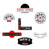 Set of  men's store logos and emblems with text Royalty Free Stock Image
