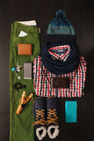 A set of men's things for winter: the necessary things for every Stock Photos