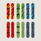 A set of men`s and women`s snowboard. Vector illustration Stock Images