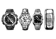 Set of men`s wristwatches Stock Images