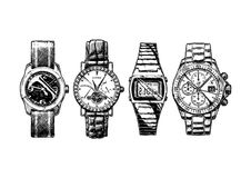 Set of men`s wristwatches Royalty Free Stock Photo