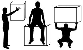 Set of men silhouettes with boxes Royalty Free Stock Image