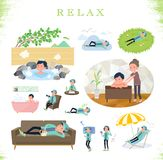 Flat type man Blue green Sportswear_relax. A set of men in sportswear about relaxing.There are actions such as vacation and stress relief.It`s vector art so it`s vector illustration