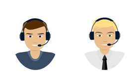 Set of  men telemarketer, call center operator, hot line, online support Royalty Free Stock Image