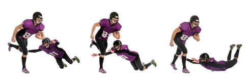Set of men in uniform playing American football royalty free stock images
