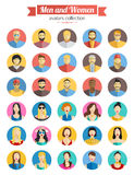 Set of Men and Women Avatars Icons. Colorful Male and Female Faces Icons Set. Flat Style Design with long shadows. Stock Photo