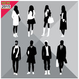 Set of men and women black silhouettes collection. Set of men and women black silhouettes Stock Photo