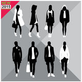 Set of men and women black silhouettes collection. Set of men and women black silhouettes Royalty Free Stock Images
