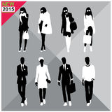 Set of men and women black silhouettes collection. Set of men and women black silhouettes Stock Photos