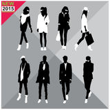 Set of men and women black silhouettes collection,editable. Eight black silhouettes of men and women with white cloths on,removable,editable Royalty Free Stock Photography