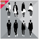 Set of men and women black silhouettes collection,. Eight black silhouettes of men and women with white cloths on,removable Royalty Free Stock Images
