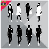 Set of men and women black silhouettes collection,. Eight black silhouettes of men and women with white cloths on,removable Stock Photos