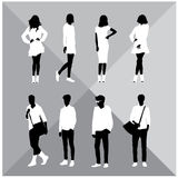 Set of men and women black silhouettes,. Eight silhouettes of both sexes stock illustration