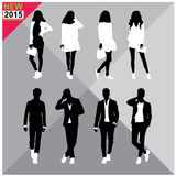 Set of men and women black silhouettes,. Eight silhouettes of both sexes Stock Image