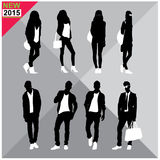 Set of men and women black silhouettes,. Eight silhouettes of both sexes Stock Photo