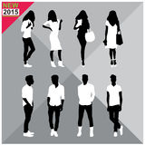 Set of men and women black silhouettes,. Eight silhouettes of both sexes Royalty Free Stock Photo