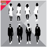 Set of men and women black silhouettes, Royalty Free Stock Images