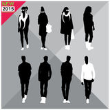 Set of men and women black silhouettes,. Eight silhouettes of both sexes Stock Photos