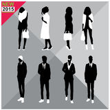 Set of men and women black silhouettes,. Eight silhouettes of both sexes vector illustration