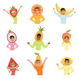 Set of men and women in different fruit hats. Strawberry, orange, banana, pitaya, pineapple, mango, watermelon, pear and. Collection of men and women wearing Royalty Free Stock Images